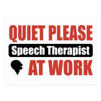Quiet Please Speech Therapist At Work Postcards