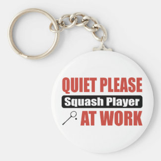 Quiet Please Squash Player At Work Basic Round Button Key Ring