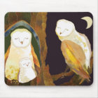 Quiet Time of Cute Owl Family Mouse Mat