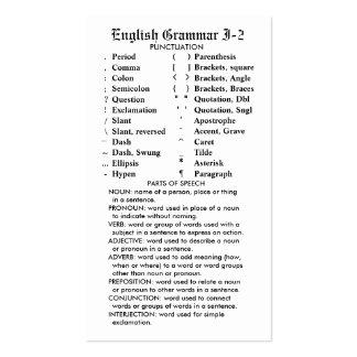 Quik-Ref English Grammar I-2 Pocket/Wallet Pack Of Standard Business Cards