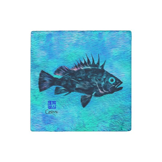 Quillback Rockfish On Blue - Marble Magnet