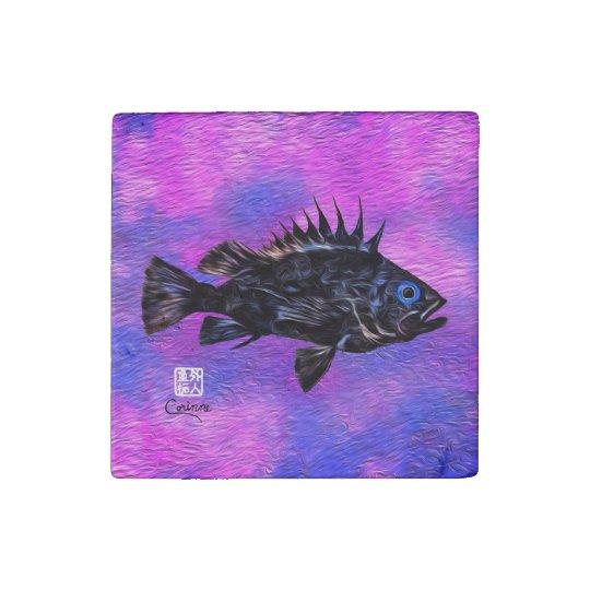 Quillback Rockfish On Purple - Marble Magnet