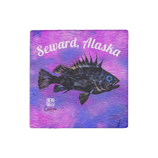 Quillback Rockfish On Purple Seward - Magnet