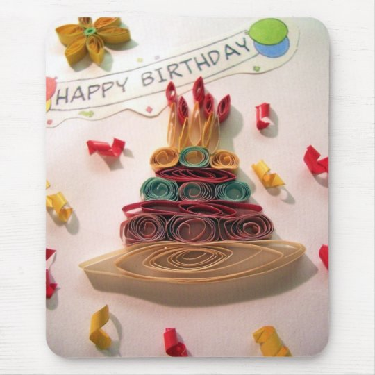 Quilling Birthday Cake Mouse Mat