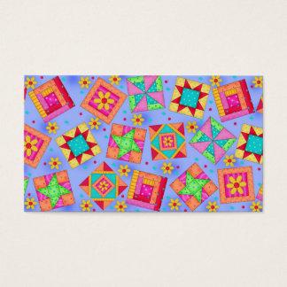 Quilt Art Business Card on Lavender Background