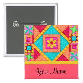 Quilt Art Name Button Badge - Red