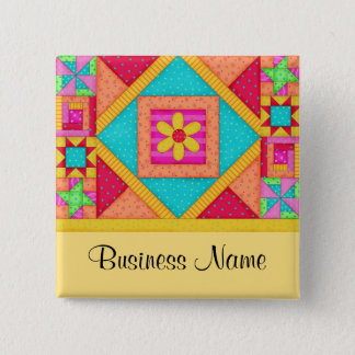 Quilt Art Name Button Badge - Yellow