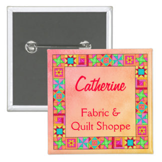 Quilt Block Border Art Quilt Business Name Badge