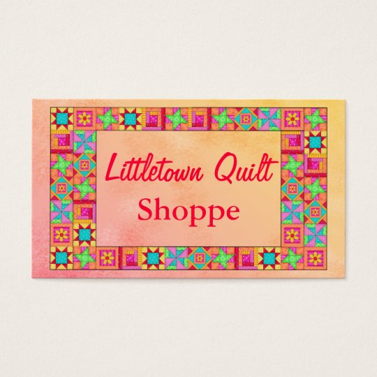Quilt Block Border Colourful Patchwork Promotion Business Card