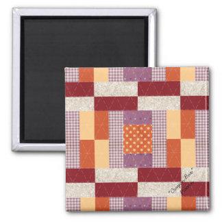 "Quilt Block Pattern ""Crayon Box"" Square Magnet"