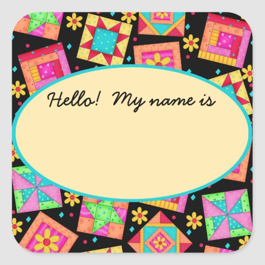 Quilt Blocks Black Name Tag or Label Square