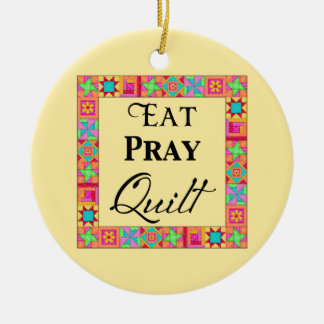 Quilt Blocks Border Art Eat Pray Quilt Yellow Christmas Ornament