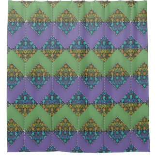 Quilt Delight in Purple & Green Chevrons Shower Curtain