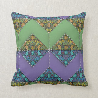 Quilt Delight in Purple & Green Chevrons Throw Cushion