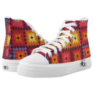 Quilt Design Abstract High Top Tennis Shoes Printed Shoes