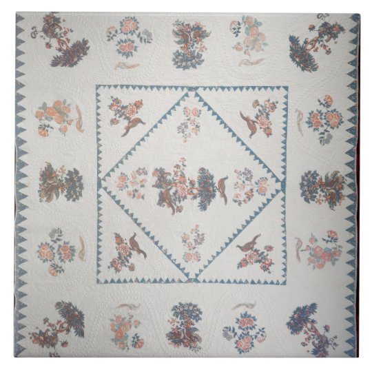 Quilt in 'Broderie Perse', c.1800 (applied, printe Large Square Tile