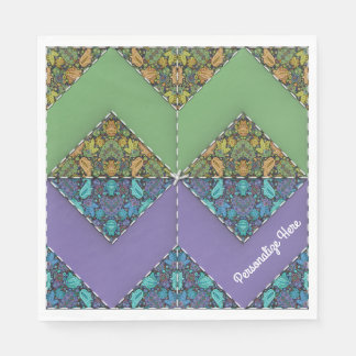 Quilt in Purple & Green Chevrons Disposable Napkins
