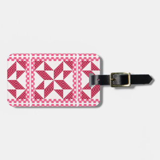 Quilt Look Pink Polka Dots Luggage Tag
