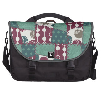 Quilt look purple and teal green Polka Dots Laptop Computer Bag