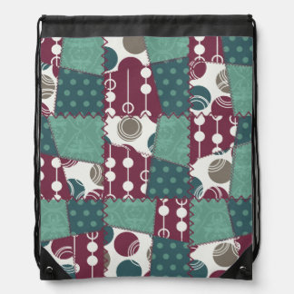 Quilt look purple and teal green Polka Dots Drawstring Backpack