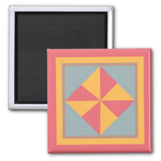 Quilt Magnate - Pinwheel (blue/gold/red) Magnet