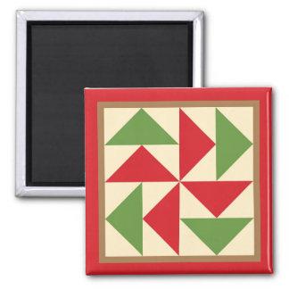 Quilt Magnet - Dutchman Puzzle (red)