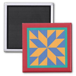 Quilt Magnet - Hunter's Star (blue/yellow)