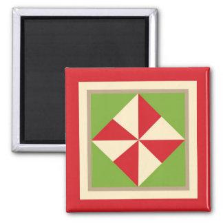 Quilt Magnet - Pinwheel (Christmas)