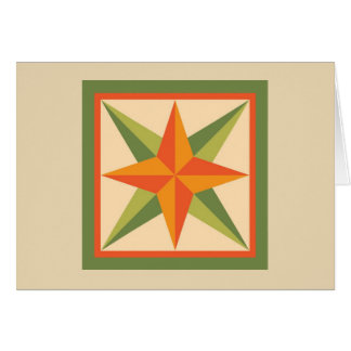 Quilt Note Card - Beveled Star (orange/green)