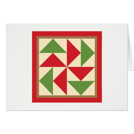 Quilt Note Cards - Dutchman's Puzzle (red/green)