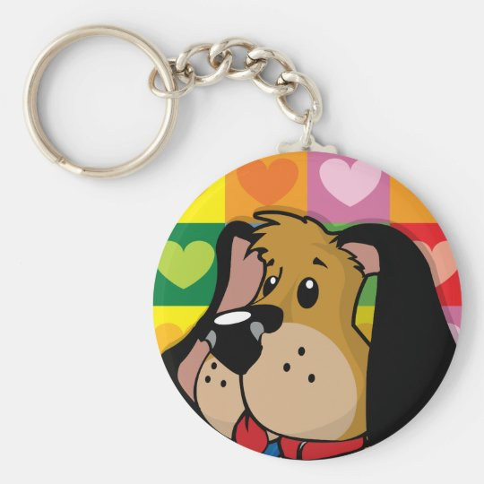 Quilt of Hearts Dog Basic Round Button Key Ring