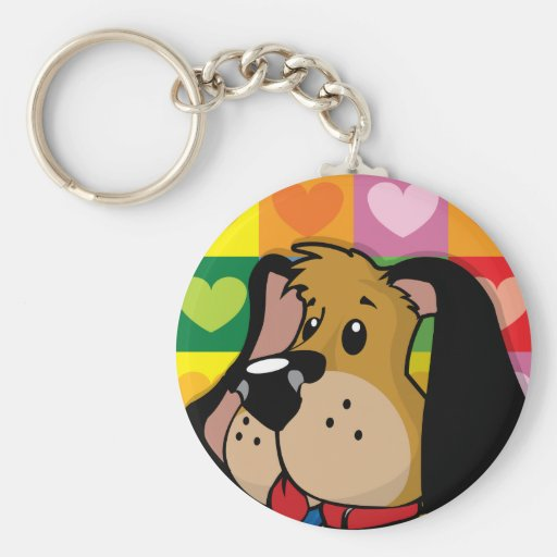 Quilt of Hearts Dog Keychain