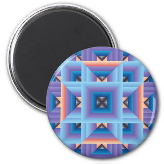 Quilt Pattern 3 in Blue and Purple 6 Cm Round Magnet