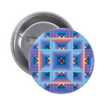 Quilt Pattern 3 in Blue and Purple 6 Cm Round Badge