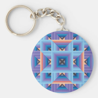 Quilt Pattern 3 in Blue and Purple Key Ring