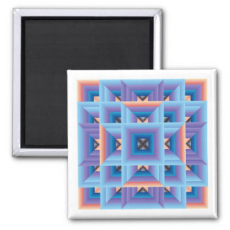 Quilt Pattern 3 in Blue and Purple Square Magnet