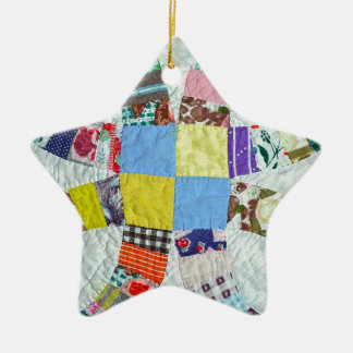 Quilt pattern ceramic star decoration