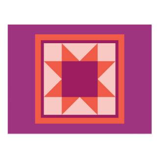 Quilt Postcards - Sawtooth Star (pink/orange)