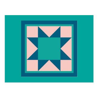 Quilt Postcards - Sawtooth Star (teal/blue)