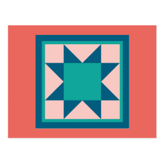 Quilt Postcards - Sawtooth Star (teal/salmon)