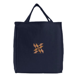 Quilt Square #3 Embroidered Tote Bag
