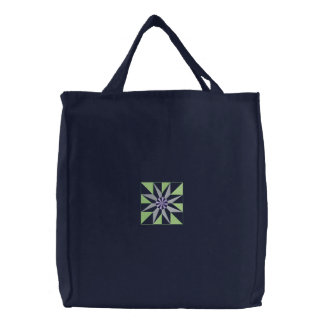 Quilt Square #9 Embroidered Tote Bag