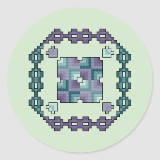 Quilt Square Purple and Teal Cross Stitch Stickers
