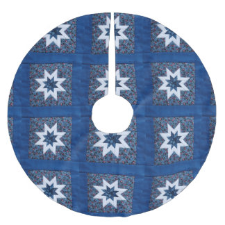 Quilt star blue brushed polyester tree skirt