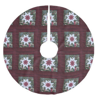 Quilt star maroon brushed polyester tree skirt
