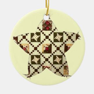 Quilt Star Round Ceramic Decoration
