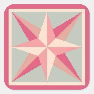 Quilt Stickers - Beveled Star (Pink/grey)