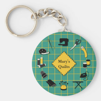 Quilt Time Customiz the Label Basic Round Button Key Ring