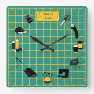 Quilt Time Customize the Label Square Wall Clock