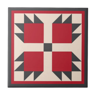 Quilt Trivet – Bearcats Block (black/red ) Small Square Tile